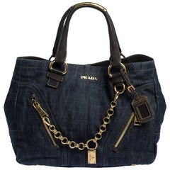 Prada Navy Blue Denim and Leather Chain Link Tote