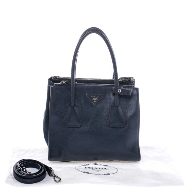 Prada Navy Blue Leather and Suede Twin Pocket Double Handle Tote For Sale 7