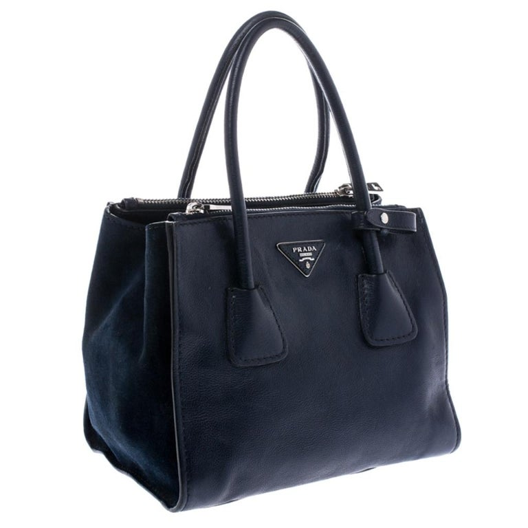 Women's Prada Navy Blue Leather and Suede Twin Pocket Double Handle Tote For Sale