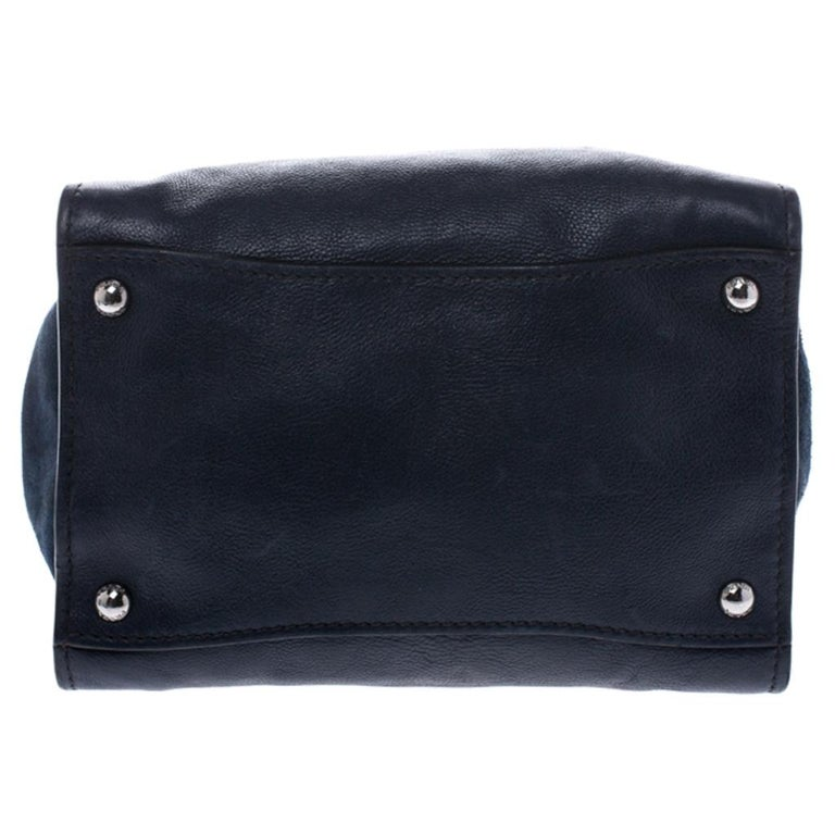 Prada Navy Blue Leather and Suede Twin Pocket Double Handle Tote For Sale 1