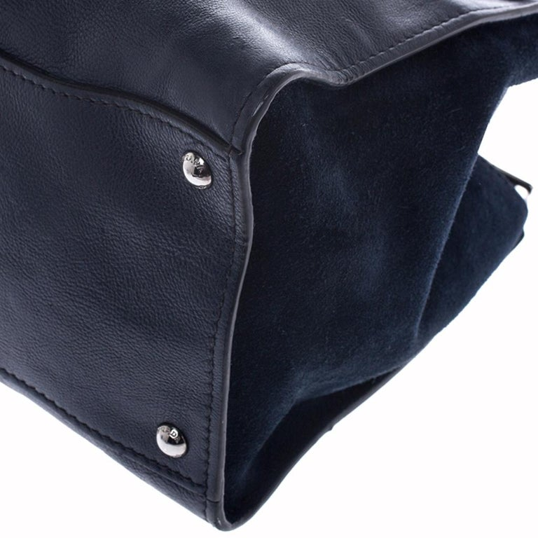 Prada Navy Blue Leather and Suede Twin Pocket Double Handle Tote For Sale 2