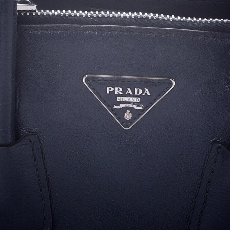 Prada Navy Blue Leather and Suede Twin Pocket Double Handle Tote For Sale 3