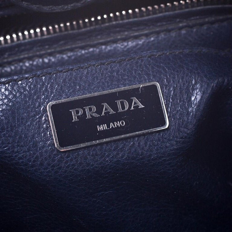 Prada Navy Blue Leather and Suede Twin Pocket Double Handle Tote For Sale 4