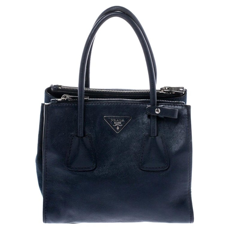 Prada Navy Blue Leather and Suede Twin Pocket Double Handle Tote For Sale