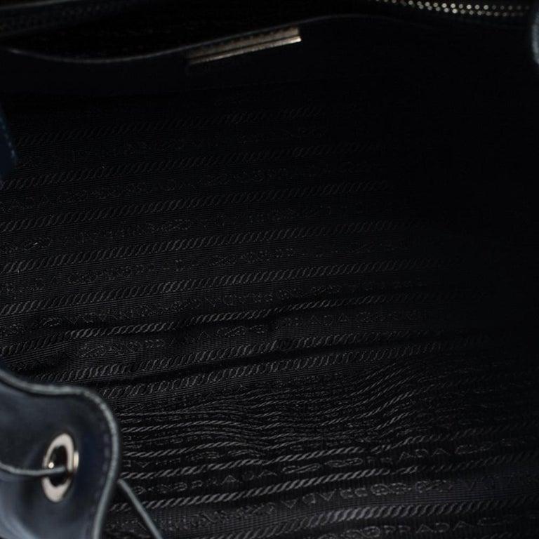 Prada Navy Blue Leather Double Pocket Drawstring Shoulder Bag For Sale 5