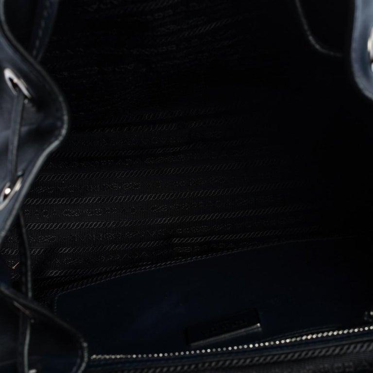 Prada Navy Blue Leather Double Pocket Drawstring Shoulder Bag For Sale 6