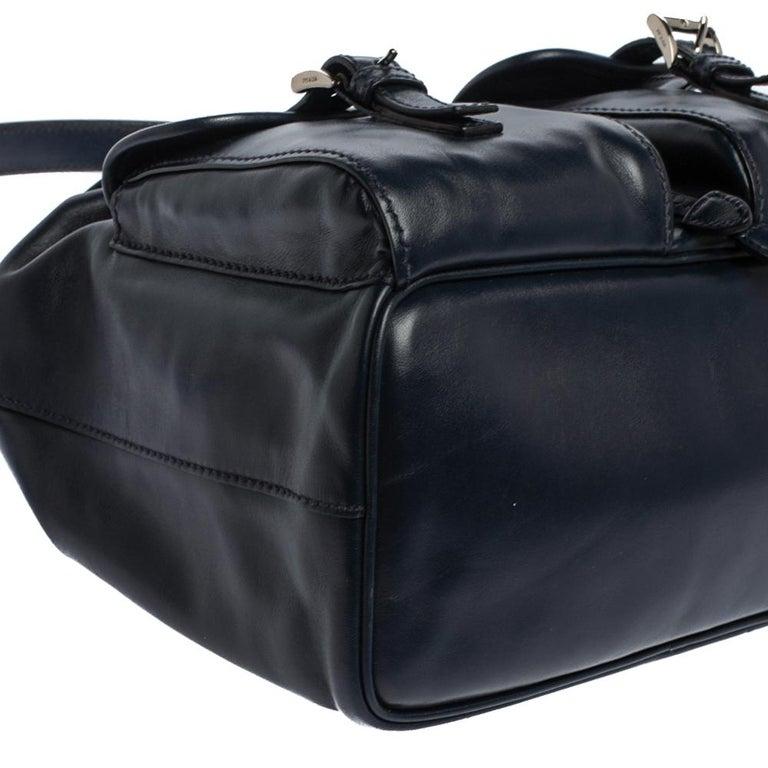 Prada Navy Blue Leather Double Pocket Drawstring Shoulder Bag For Sale 7