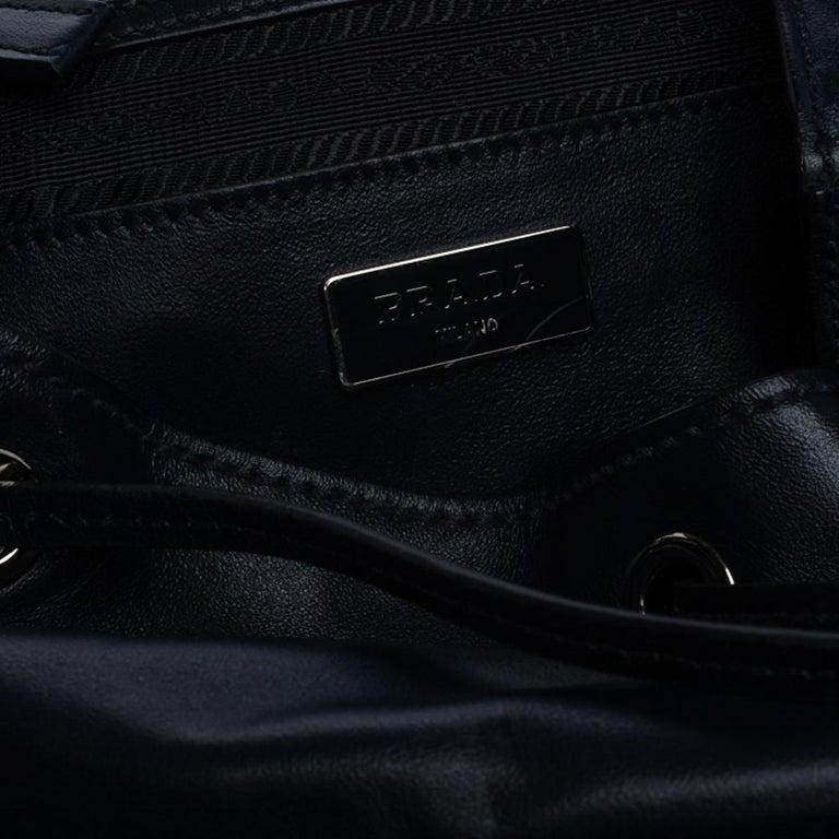 Prada Navy Blue Leather Double Pocket Drawstring Shoulder Bag For Sale 8