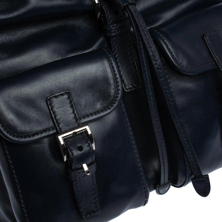 Prada Navy Blue Leather Double Pocket Drawstring Shoulder Bag For Sale 9