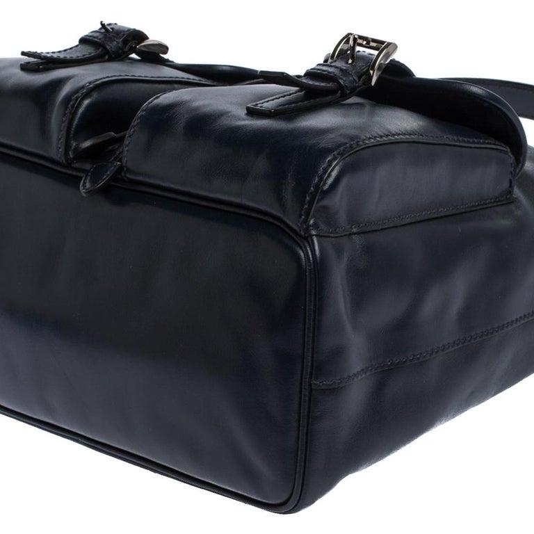 Prada Navy Blue Leather Double Pocket Drawstring Shoulder Bag For Sale 10