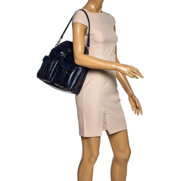 Black Prada Navy Blue Leather Double Pocket Drawstring Shoulder Bag For Sale