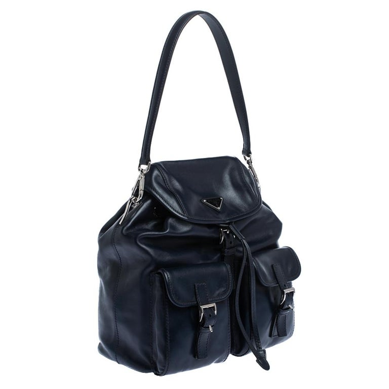 Prada Navy Blue Leather Double Pocket Drawstring Shoulder Bag In Good Condition For Sale In Dubai, Al Qouz 2