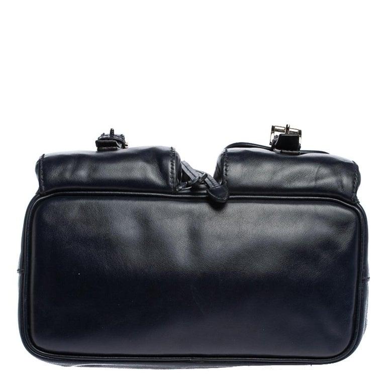 Women's Prada Navy Blue Leather Double Pocket Drawstring Shoulder Bag For Sale