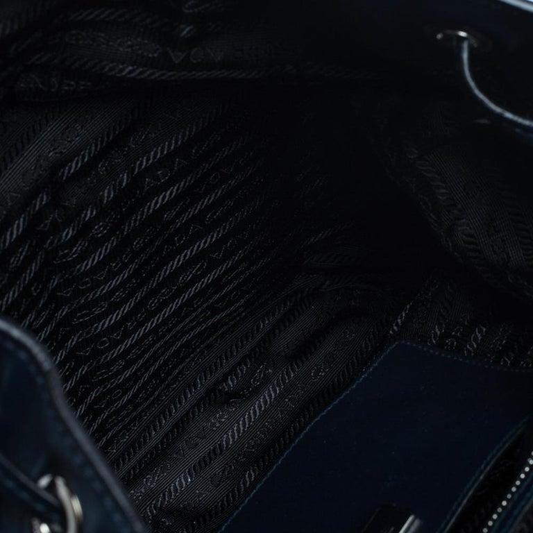 Prada Navy Blue Leather Double Pocket Drawstring Shoulder Bag For Sale 1