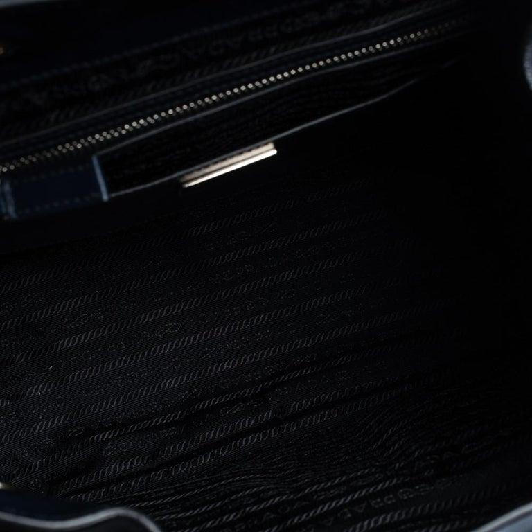 Prada Navy Blue Leather Double Pocket Drawstring Shoulder Bag For Sale 2