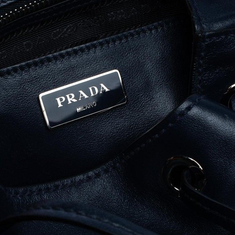 Prada Navy Blue Leather Double Pocket Drawstring Shoulder Bag For Sale 3