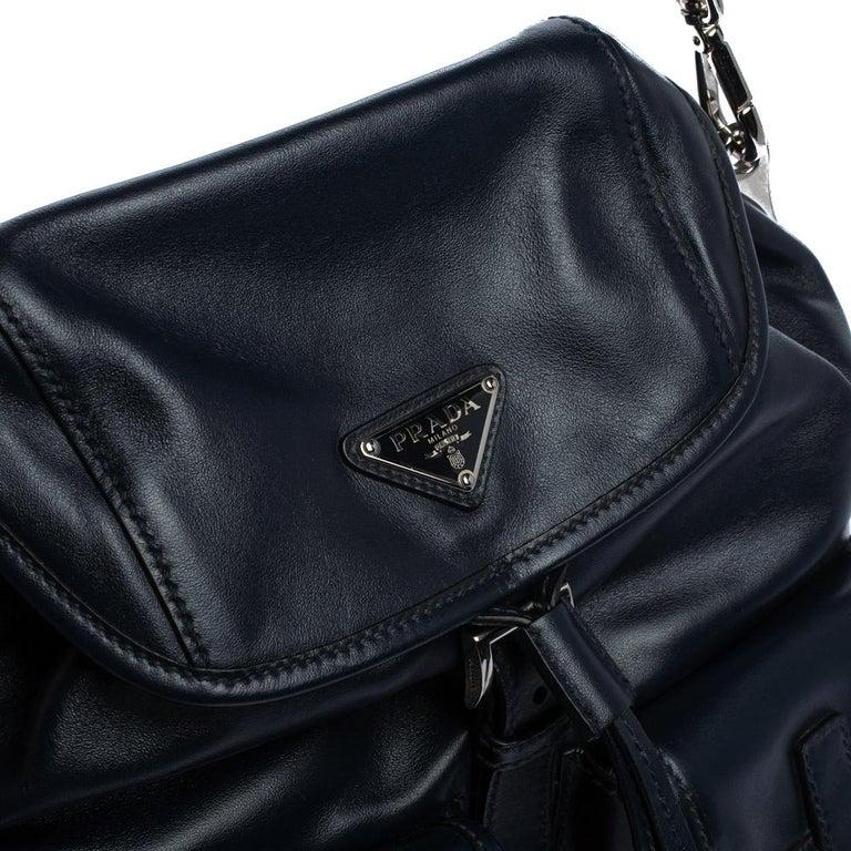 Prada Navy Blue Leather Double Pocket Drawstring Shoulder Bag For Sale 4