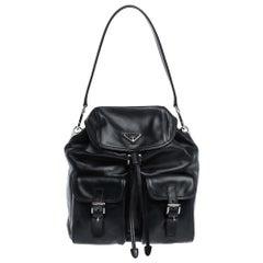 Prada Navy Blue Leather Double Pocket Drawstring Shoulder Bag