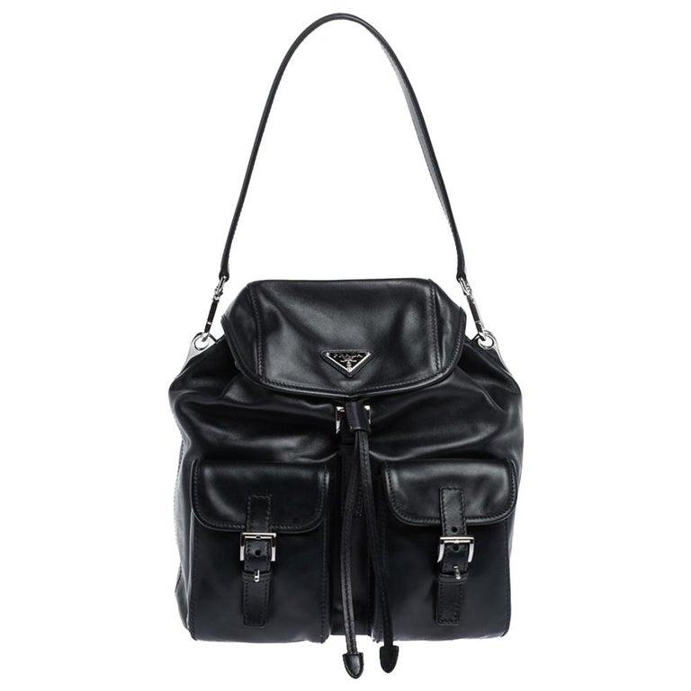 Prada Navy Blue Leather Double Pocket Drawstring Shoulder Bag For Sale