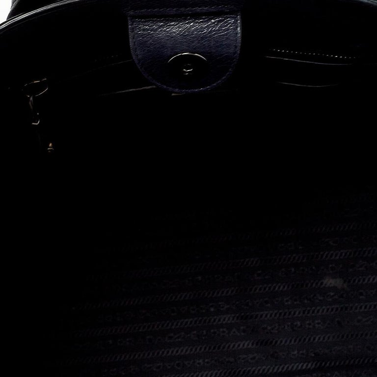Prada Navy Blue Leather Sound Flap Tote For Sale 5