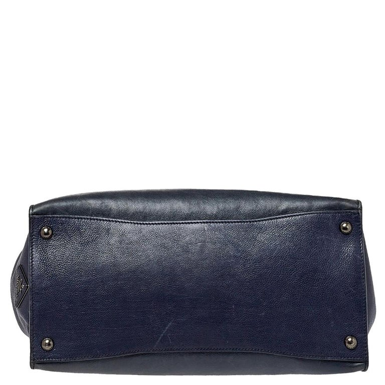 Women's Prada Navy Blue Leather Sound Flap Tote For Sale