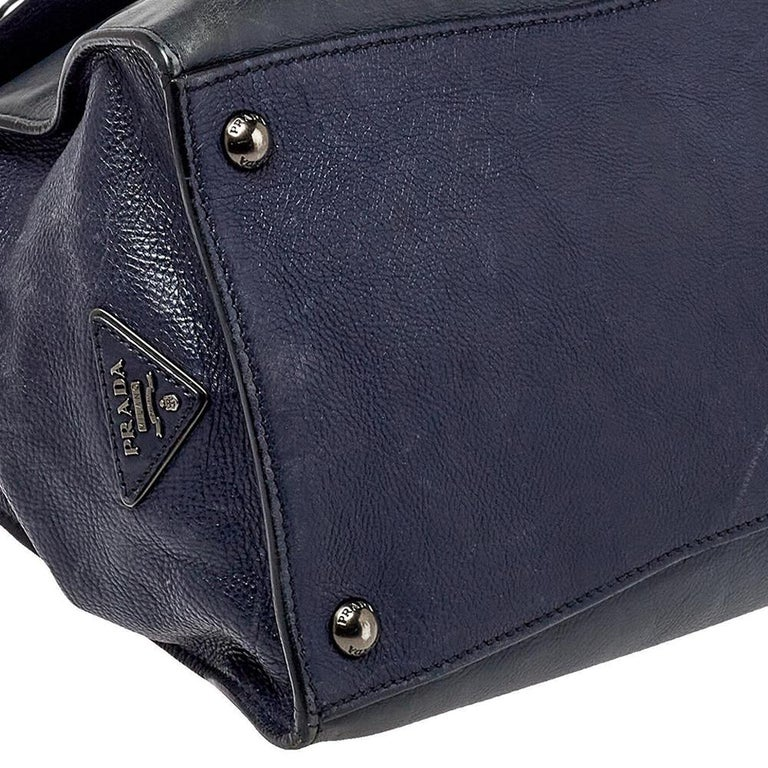 Prada Navy Blue Leather Sound Flap Tote For Sale 1