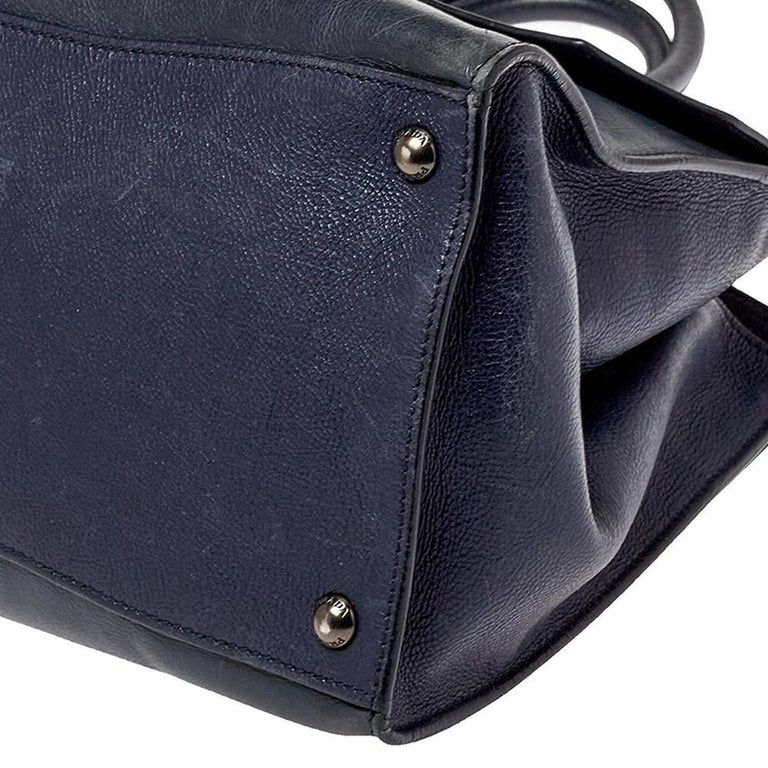 Prada Navy Blue Leather Sound Flap Tote For Sale 2
