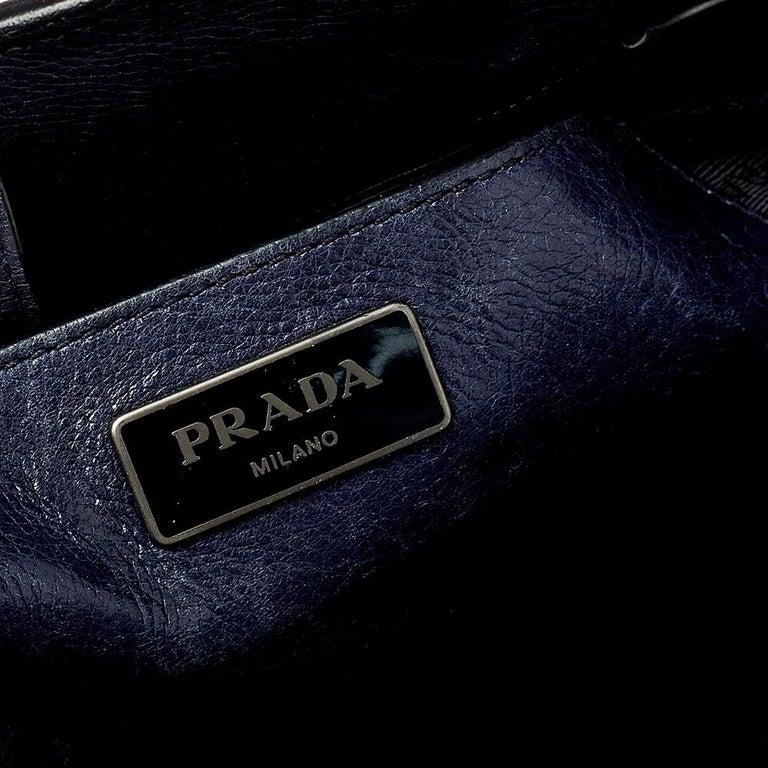 Prada Navy Blue Leather Sound Flap Tote For Sale 3