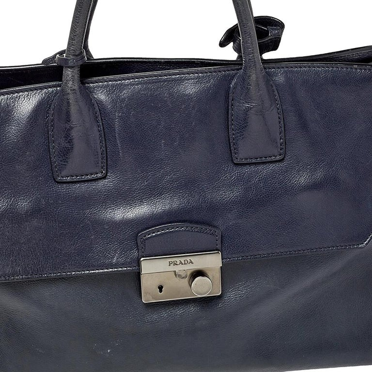 Prada Navy Blue Leather Sound Flap Tote For Sale 4