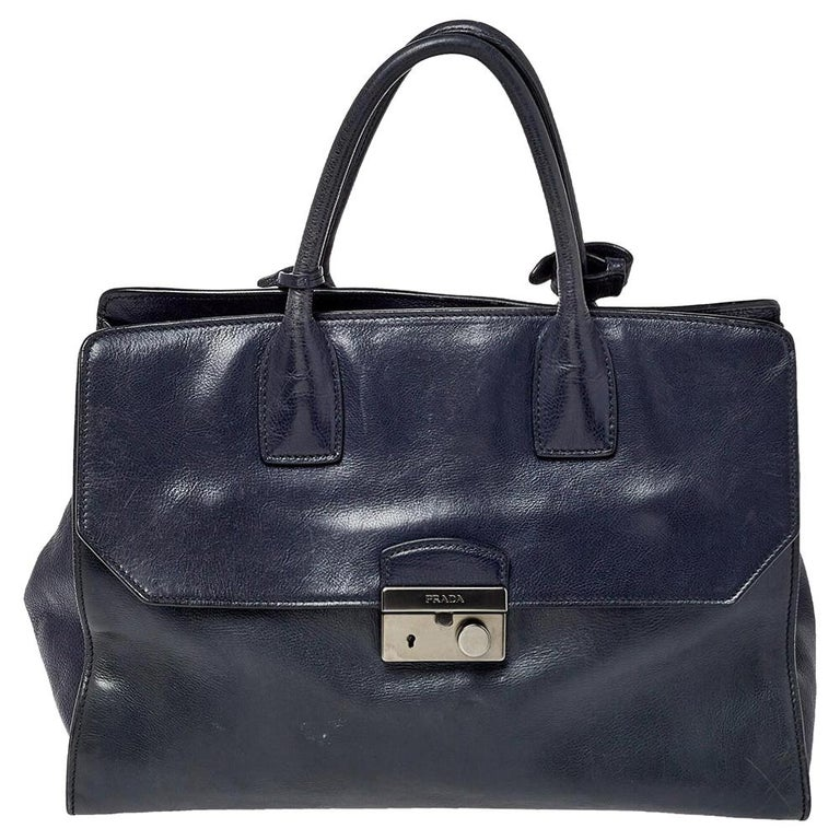 Prada Navy Blue Leather Sound Flap Tote For Sale