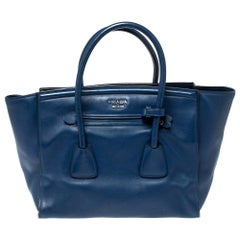 Prada Navy Blue Leather Wing Tote
