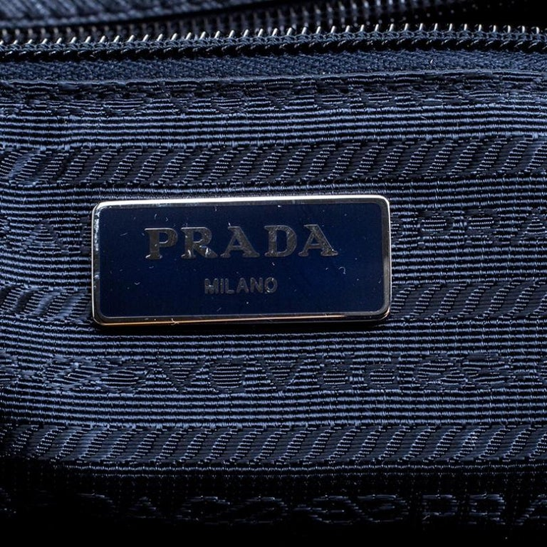 Prada Navy Blue Nylon Weekender Bag For Sale 6