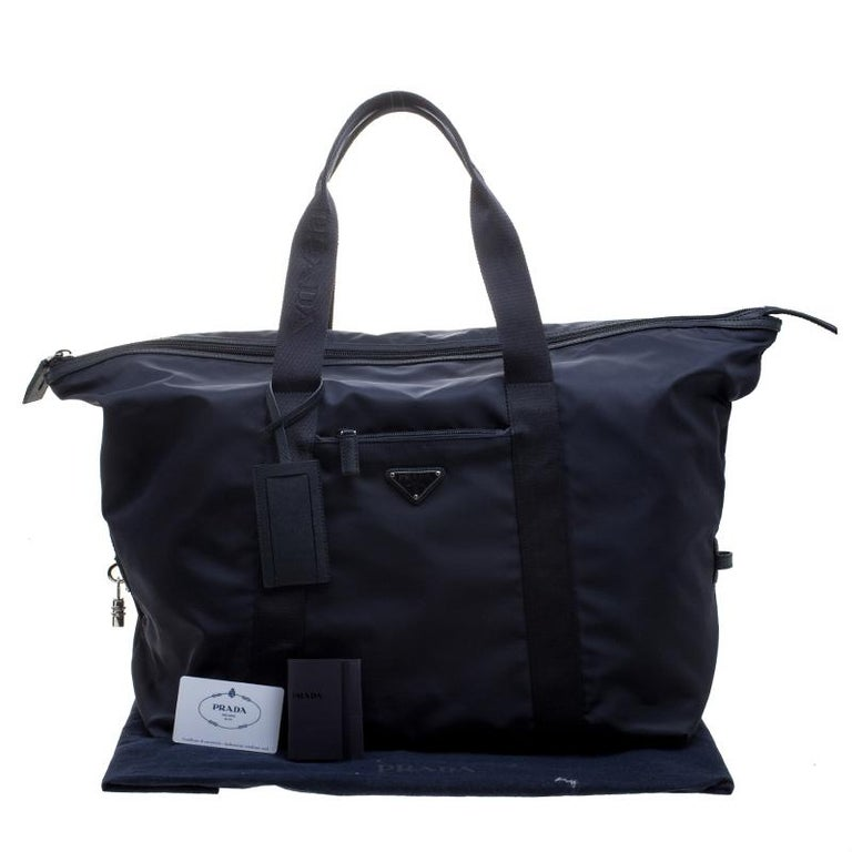 5f0efda09c5050 Prada Navy Blue Nylon Weekender Bag For Sale at 1stdibs