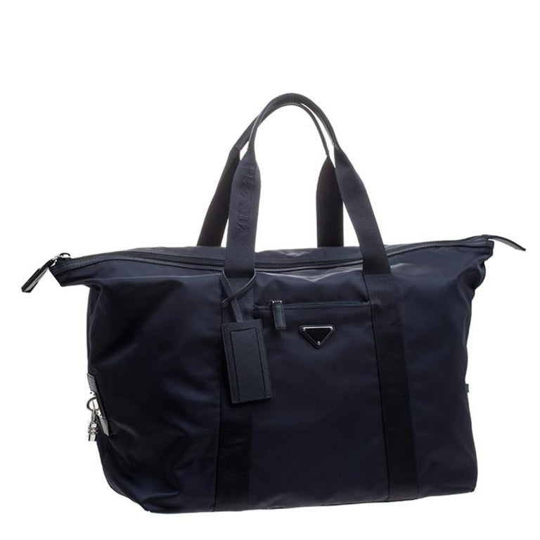 Women's Prada Navy Blue Nylon Weekender Bag For Sale