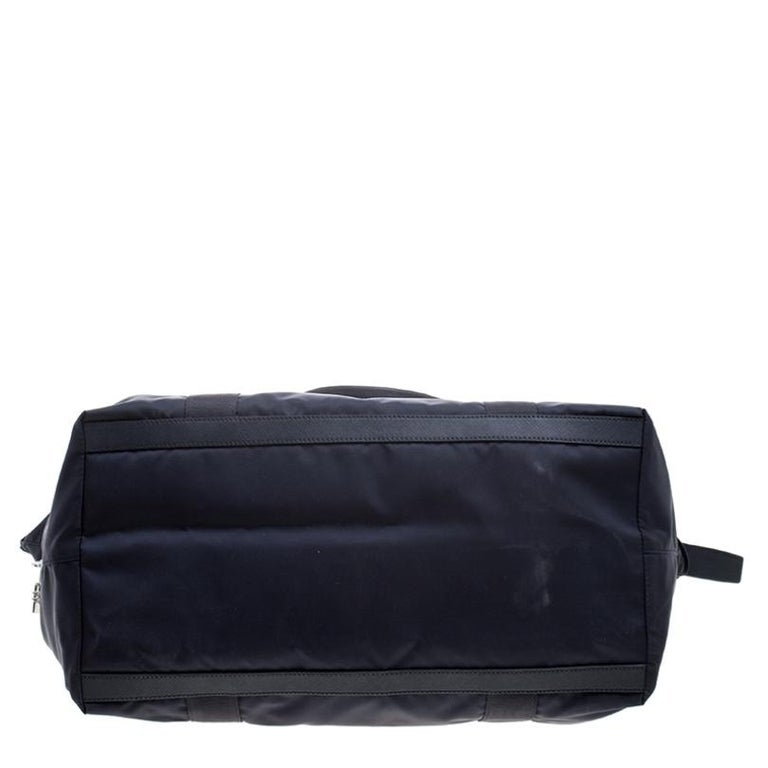 Prada Navy Blue Nylon Weekender Bag For Sale 1