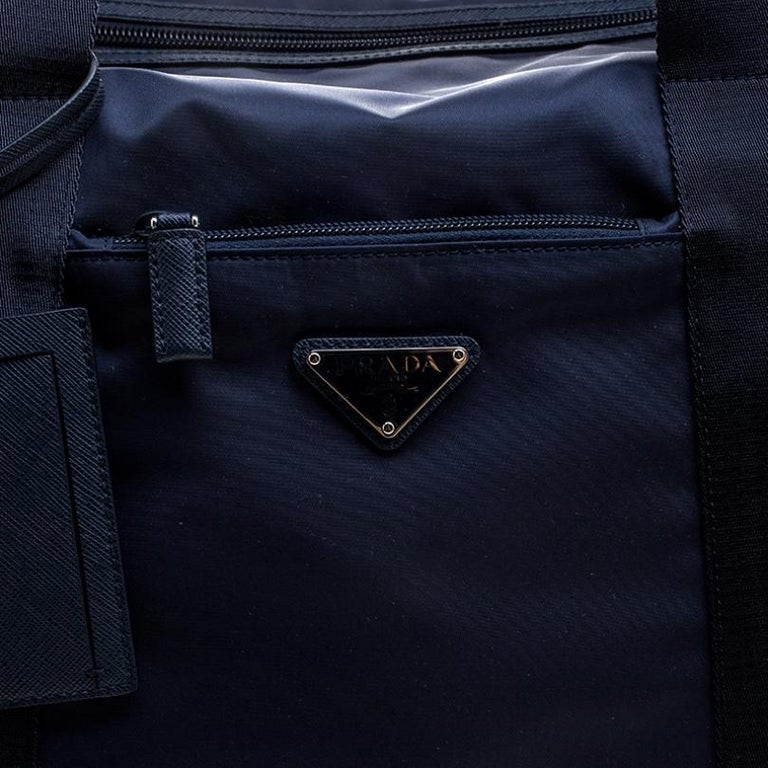 Prada Navy Blue Nylon Weekender Bag For Sale 4