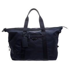 Prada Navy Blue Nylon Weekender Bag