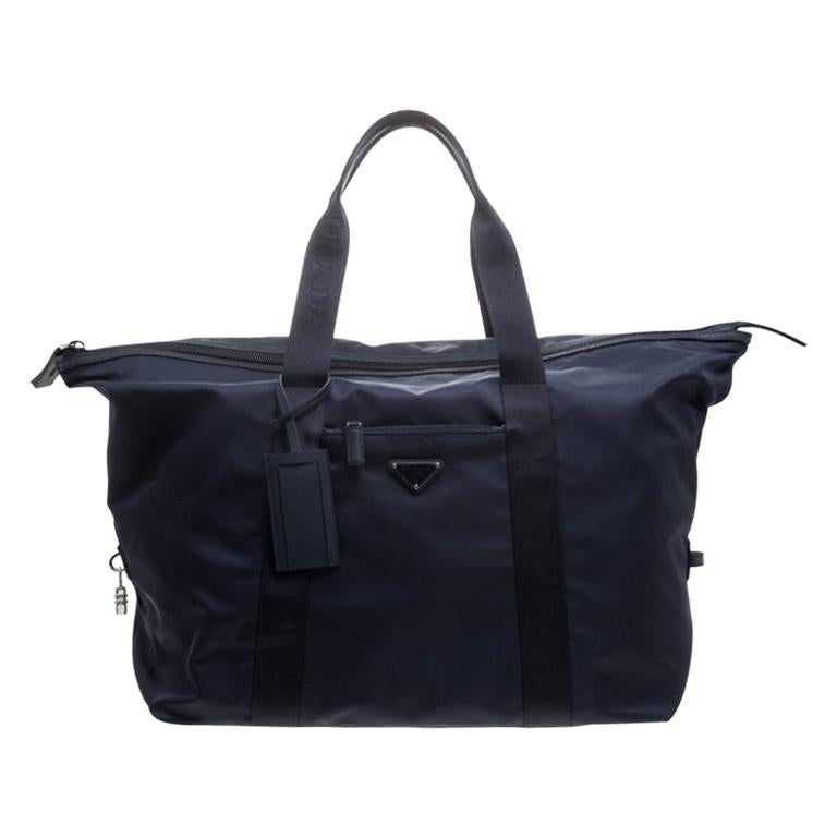 Prada Navy Blue Nylon Weekender Bag For Sale
