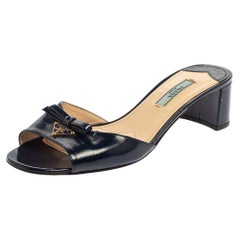 Prada Navy Blue Patent Leather Mules Sandals Size 37