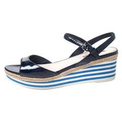 Prada Navy Blue Patent Leather Platform Stripe Wedge Ankle Strap Sandals Size 40