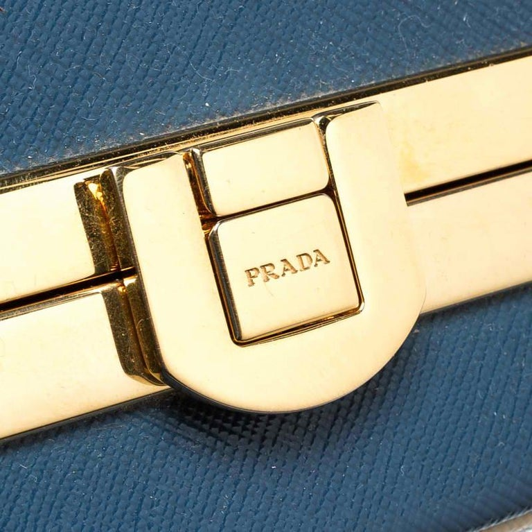 Prada Navy Blue Patent Leather Pyramid Frame Top Handle Bag For Sale 5
