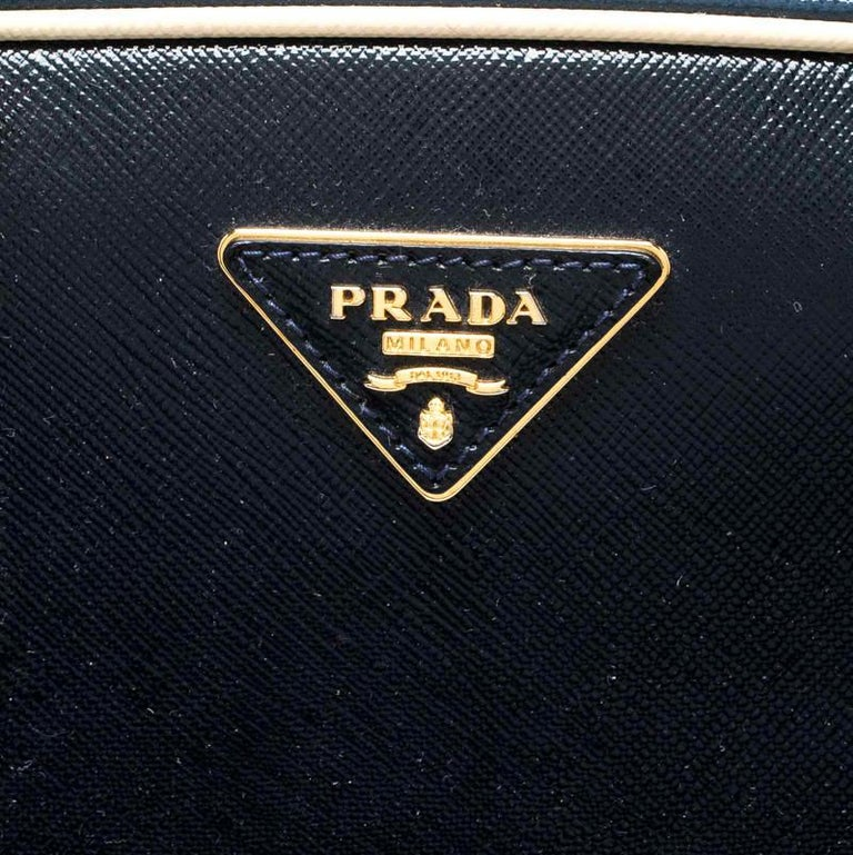 Prada Navy Blue Patent Leather Pyramid Frame Top Handle Bag For Sale 6