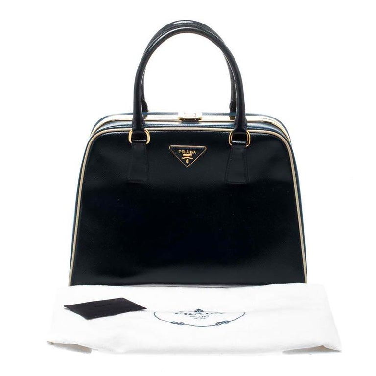 Prada Navy Blue Patent Leather Pyramid Frame Top Handle Bag For Sale 7