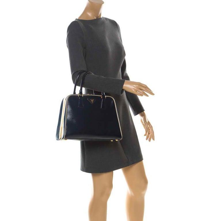Black Prada Navy Blue Patent Leather Pyramid Frame Top Handle Bag For Sale