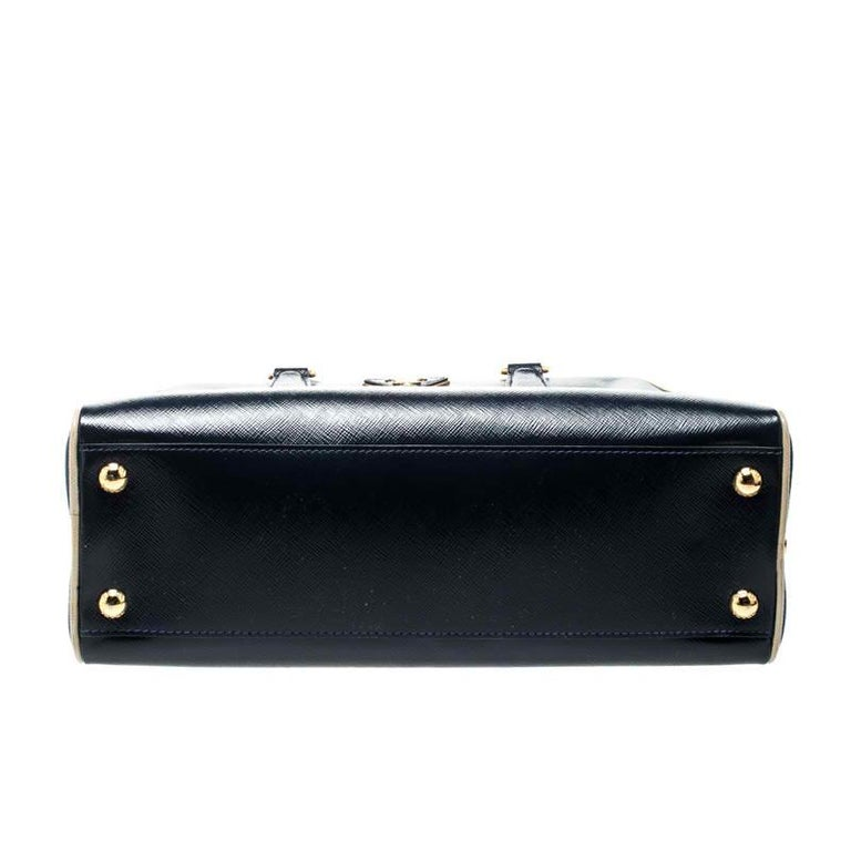 Women's Prada Navy Blue Patent Leather Pyramid Frame Top Handle Bag For Sale