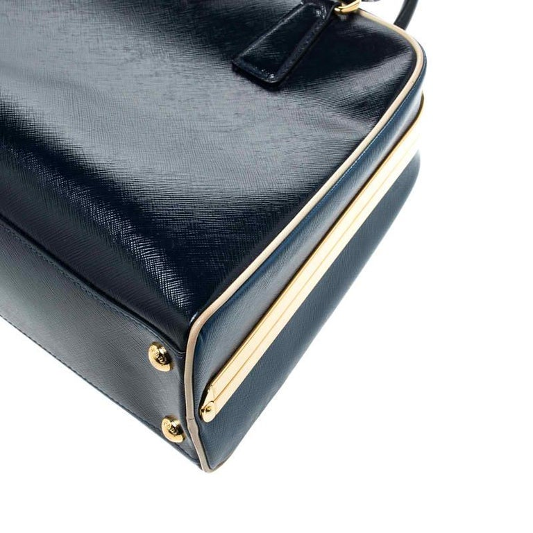 Prada Navy Blue Patent Leather Pyramid Frame Top Handle Bag For Sale 1