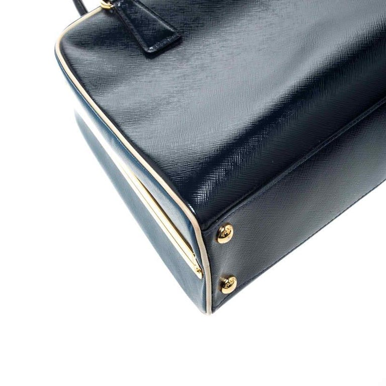 Prada Navy Blue Patent Leather Pyramid Frame Top Handle Bag For Sale 2