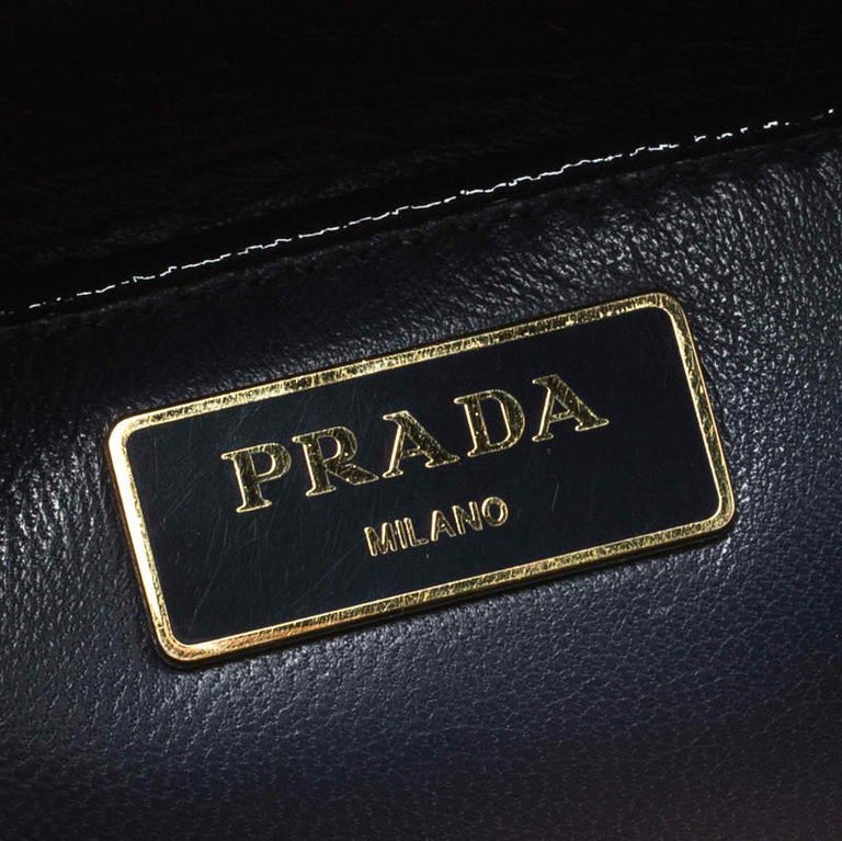 Prada Navy Blue Patent Leather Pyramid Frame Top Handle Bag For Sale 3