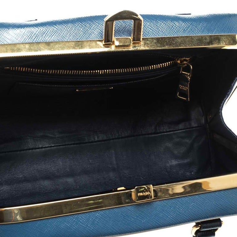 Prada Navy Blue Patent Leather Pyramid Frame Top Handle Bag For Sale 4