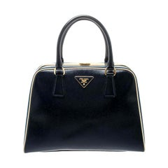 Prada Navy Blue Patent Leather Pyramid Frame Top Handle Bag